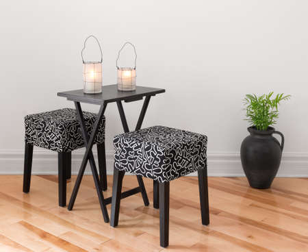 Table for two decorated with lanterns  Simple design