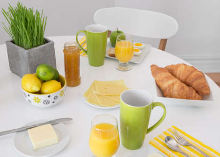 Bright table setting with tasty and healthy breakfast Stock Photo - 19862970