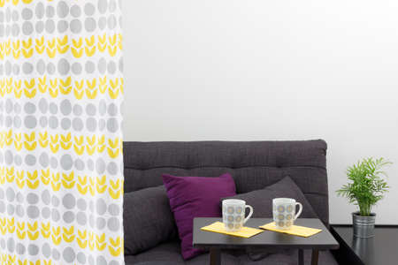 futon: Sofa with bright cushions, behind a decorative curtain in a living room