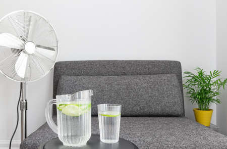 cool down: Electric fan near armchair, and some water to cool down.