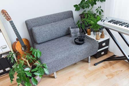 음악가의 집. 안락 의자, 악기와 녹색 식물을 많이.