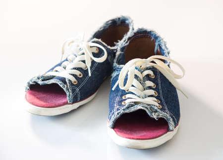 Blue denim shoes with laces