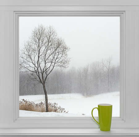 Green teacup on a windowsill, with winter landscape seen through the window