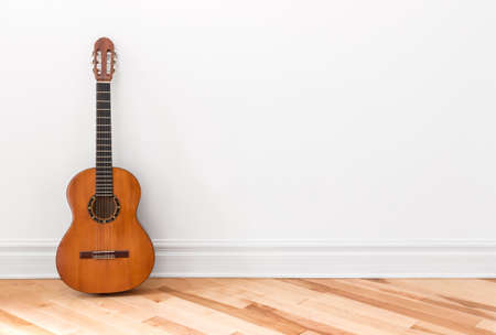 Classical guitar in an empty room, with copy space