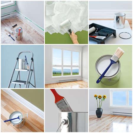 Renovaties in een modern huis Verzameling van 9 beelden