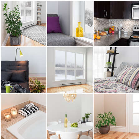 Modern home  Living room, dining room, bedroom, kitchen, bathroom  Collection of 9 images