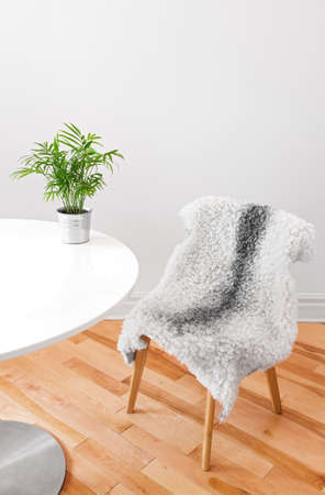 Home decor  Chair covered with sheepskin, and green plant on a white table