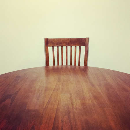 Classic style round wooden table and chair  스톡 콘텐츠
