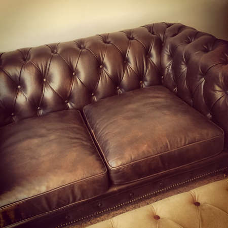 Luxurious Brown Leather Sofa Retro Style Furniture