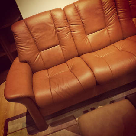 Luxurious brown leather sofa  Contemporary furniture  photo