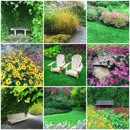 Gardens and blooming flowers. Collage of nine photos. Stock Photo