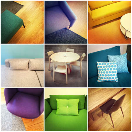 Colorful modern furniture. Interior design, collage of nine photos.