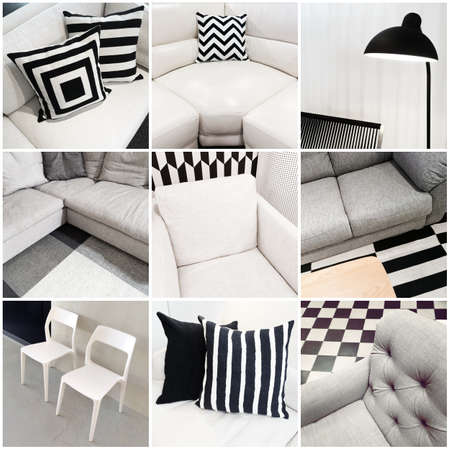 Interiors with black and white furniture. Collage of nine photos. Banco de Imagens