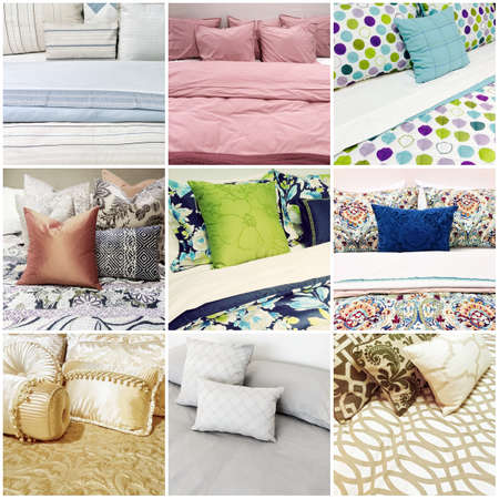 Beds with different styles of bed linen. Collage of nine photos. Stockfoto
