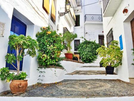 Pittoreske straat versierd met planten. Frigiliana, Andalusië, Spanje.