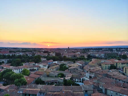 Rooftops of the picturesque town in sunset. Carcassonne, France.