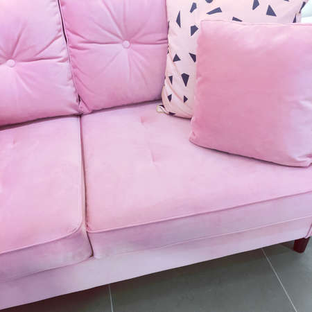 Fancy Pink Velvet Sofa With Soft Cushions. Expensive Furniture. Stock Photo    96454851