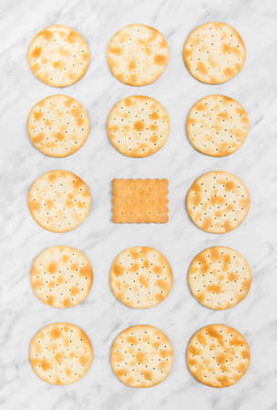 Rows of round crackers and a square tea biscuit in the middle, on marble background.