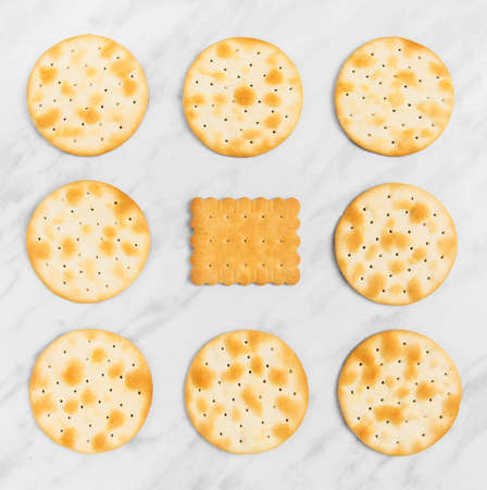 Round crackers and one square tea biscuit the middle, on marble background. Stock Photo
