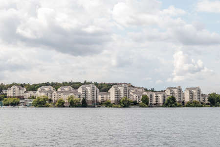 Living in harmony with nature. Modern city on a lakeshore. Stockholm, Sweden.