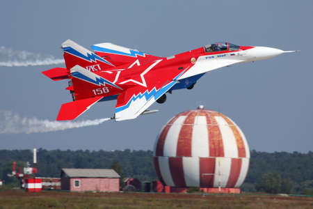 ZHUKOVSKY, MOSCOW REGION, RUSSIA - AUGUST 16, 2011: MiG-29OVT perfoming demonstration flight in Zhukovsky during MAKS-2011 airshow.