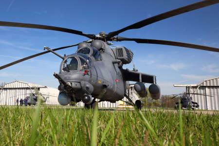 mi: KUBINKA, MOSCOW REGION, RUSSIA - MAY 9, 2015: Mi-35 attack helicopter pictured at Kubinka air force base.