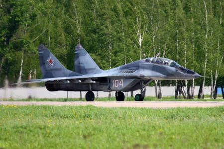 mig: KUBINKA, MOSCOW REGION, RUSSIA - MAY 5, 2010: MiG-29UB of Russian Air Force at Kubinka air force base. Editorial