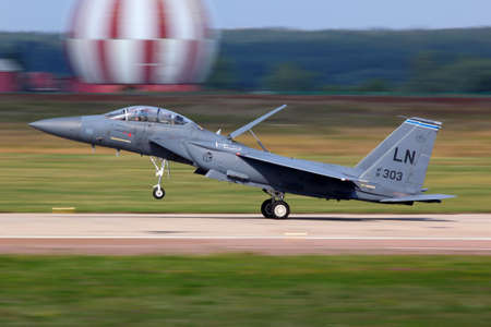 ZHUKOVSKY, MOSCOW REGION, RUSSIA - AUGUST 16, 2011: McDonnell Douglas F-15E Strike Eagle just finished demonstration flight in Zhukovsky during MAKS-2011 airshow. Editorial