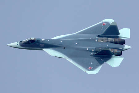 ZHUKOVSKY, MOSCOW REGION, RUSSIA - NOVEMBER 20, 2013: Sukhoi T-50 PAK-FA 055 BLUE prototype is a brand new fifth generation jet fighter shown while arriving at Zhukovsky airport. Editorial