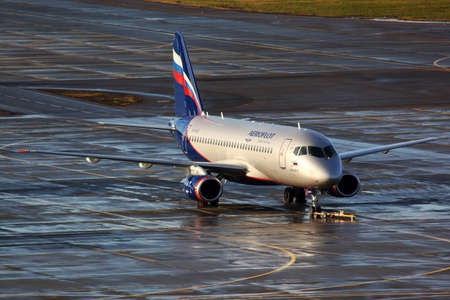 SHEREMETYEVO, MOSCOW REGION, RUSSIA - NOVEMBER 2, 2011: Aeroflot Sukhoi Superjet-100 RA-89003 standing at Sheremetyevo international airport.