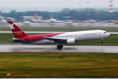 SHEREMETYEVO, MOSCOW REGION, RUSSIA - JUNE 14, 2011:  767-300 VQ-BRA of Nordwind airlines takes off at Sheremetyevo international airport.