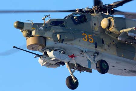 mi: CHKALOVSKY, MOSCOW REGION, RUSSIA - JANUARY 19, 2012: Mil Mi-28N 35 YELLOW of Russian Air Force at Chkalovsky. Editorial