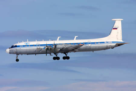 CHKALOVSKY, MOSCOW REGION, RUSSIA - MARCH 2, 2013: Ilyushin IL-22 RA-75902 of Russian Air Force landing at Chkalovsky.