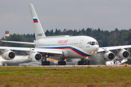 ZHUKOVSKY, MOSCOW REGION, RUSSIA - JULY 14, 2014: Ilyushin IL-96-300PU RA-96012 of Presidents special flight unit taking off at Zhukovsky with president Vladimir Putin on board.