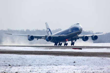 boeing 747: Domodedovo, Moscow Region, Russia - February 11 2012: Boeing B-747-800 VQ-BLQ of Air Bridge Cargo airlines taking off at Domodedovo international airport.