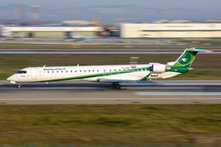Istanbul, Turkey - March 18, 2014: Bombardier CRJ-900 YI-AQB of Iraqi Airways taking off at Ataturk international airport.