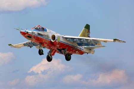 Kubinka, Moscow Region, Russia - July 14, 2011: Former Sky Hussars aerobatics team Sukhoi Su-25SM takes off at Kubinka air force base.