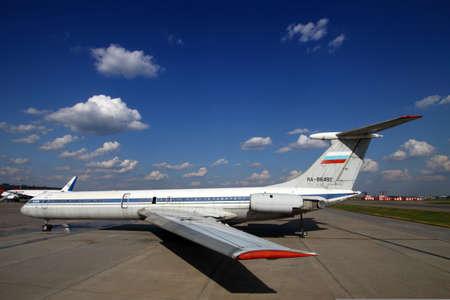 Sheremetyevo, Moscow Region, Russia - March 13, 2014: Former Aeroflot Ilyushin IL-62M RA-86492 standing at Sheremetyevo international airport. Editorial