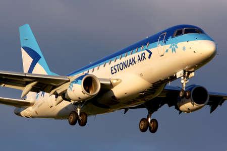 Sheremetyevo, Moscow Region, Russia - May 30, 2012: Estonian Air Embraer ERJ-170STD landing at Sheremetyevo international airport.