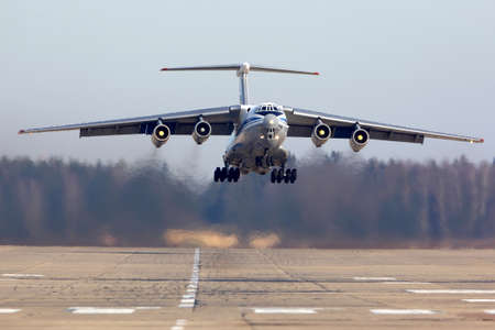 Kubinka, Moscow Region, Russia - February 27, 2014: Ilyushin IL-76MD RA-76733 of russian air force takes off at Kubinka air force base. Editorial