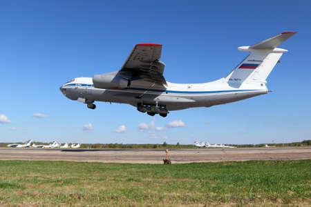 Migalovo, Tver Region, Russia - May 6, 2014: Russian air force Ilyushin IL-76MD RA-76771 at Migalovo airfiled departing Victory Day parade. Editorial