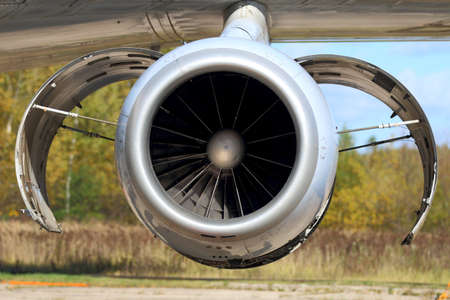 Jet airplane or aircraft engine with opened covers. Stock fotó
