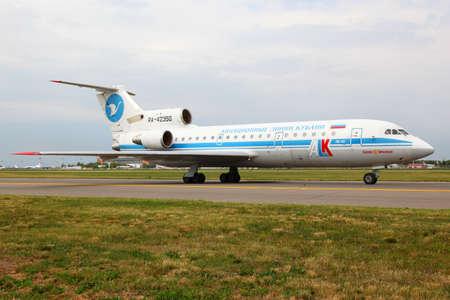 Vnukovo, Moscow Region, Russia - June 17, 2011: Yakovlev Yak-42 RA-42350 of Kuban Airlines taxiing at Vnukovo international airport. Editorial