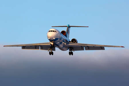 Sheremetyevo, Moscow Region, Russia - March 21, 2012: Tulpar Air Yakovlev Yak-42D RA-42365 landing at Sheremetyevo international airport. Editorial