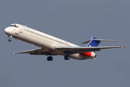 Sheremetyevo, Moscow Region, Russia - October 26, 2013: Scandinavian Airlines System McDonnell Douglas MD-82 LN-RMM landing at Sheremetyevo international airport. Redakční