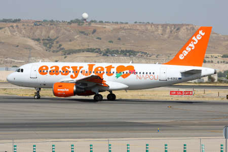 Madrid, Spain - August 12 2015: Airbus A320 of Easyjet airline taxiing at Madrid Barajas Adolfo Suarez airport. Redakční