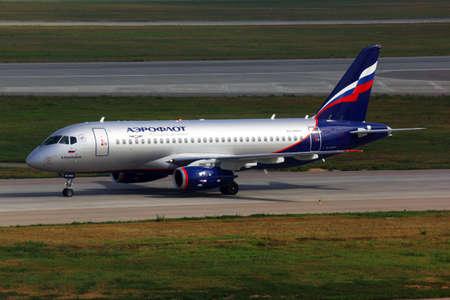 Sheremetyevo, Moscow Region, Russia - August 6, 2011: Aeroflot Sukhoi Superjet 100 taxiing at Sheremetyevo international airport. Redakční