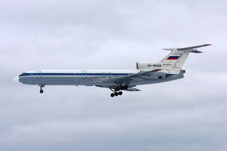 Chkalovsky, Moscow Region, Russia - March 2, 2011: Tupolev Tu-154B-2 of Russian Air Force landing at Chkalovsky. Redakční