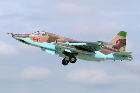 Kubinka, Moscow Region, Russia - June 20, 2015: Sukhoi SU-25SM RF-92261 of russian air force takes off at Kubinka air force base. Redakční