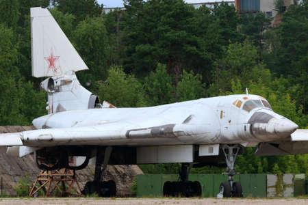 Zhukovsky, Moscow Region, Russia - August 26, 2015: Tupolev Tu-160 prototype standing in Zhukovsky during MAKS-2015 airshow. Redakční